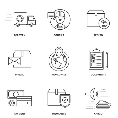 Logistics and delivery vector icons set modern line style Vettoriali