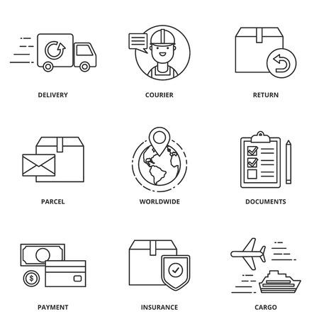 Logistyka i dostawy zestaw ikon wektorowych stylu nowoczesne linii