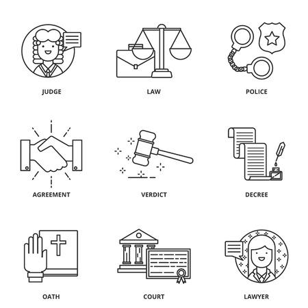 à   law: Iconos Ley conjunto de vectores estilo de línea moderna