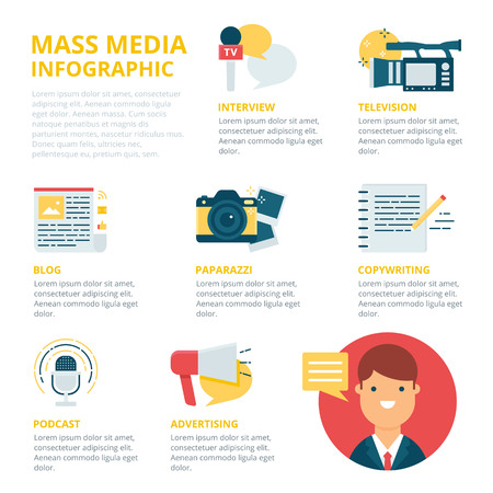 journalism: Mass media and journalism infographic, vector illustration