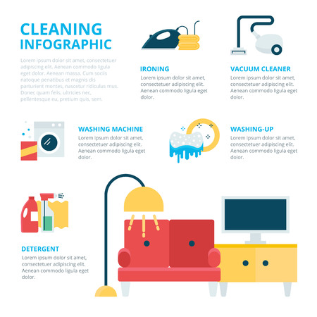 windows home: Cleaning infographic, vector illustration