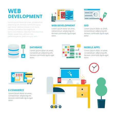 web development: Web development infographic, vector illustration