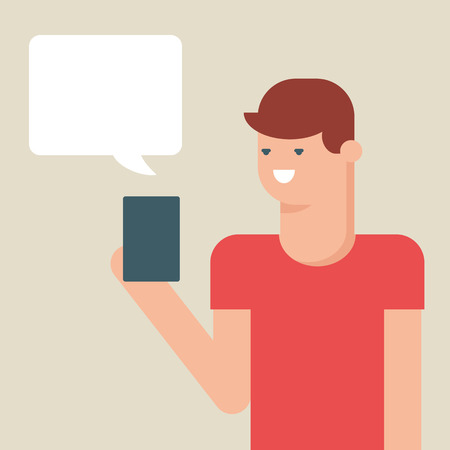 texting: Vector illustration of a man texting message with smartphone