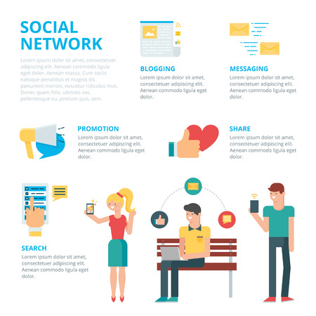 service icon: Social network infographic, vector illustration
