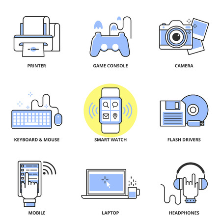icons set: Modern devices vector icons set: printer, game console, camera, keyboard and mouse, smart watch, flash drivers, mobile, laptop, headphones. Modern line style Illustration