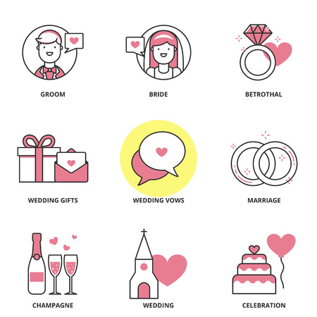 vows: Wedding vector icons set: groom, bride, betrothal, wedding gifts, wedding vows, marriage, champagne, wedding, celebration. Modern line style Illustration