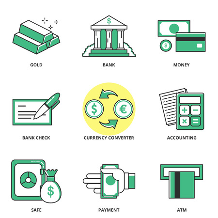currency converter: Money and finance vector icons set: gold, bank, money, bank check, currency converter, accounting, safe, payment, ATM. Modern line style