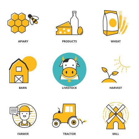 Rural industry vector icons set: apiary, products, wheat, barn, livestock, harvest, farmer, tractor, mill. Modern line style