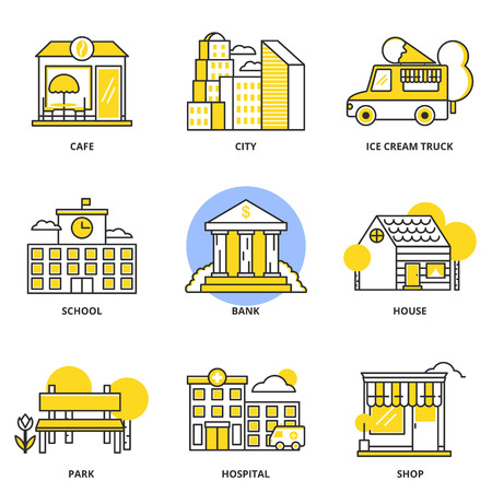 City and buildings vector icons set: cafe, city, ice cream truck, school, bank, house, park hospital, shop. Modern line style Illustration