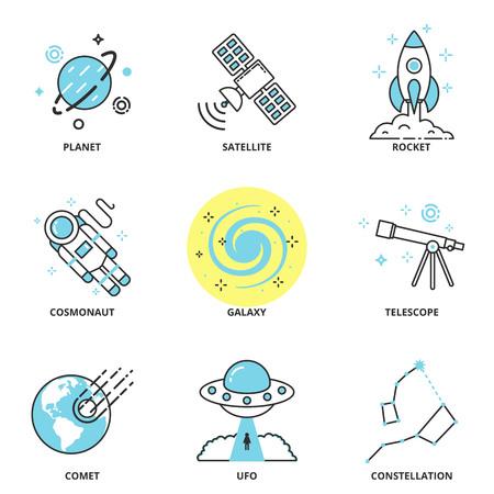 공간 벡터 아이콘 설정 : 행성, 위성, 로켓, 우주 비행사, 갤럭시, 망원경, 혜성, UFO, 별자리. 현대 선 스타일 일러스트