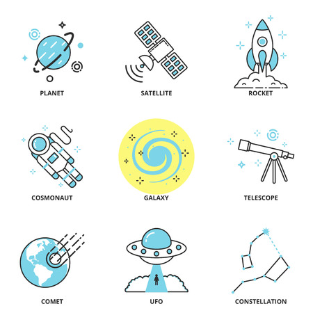 planets: Space vector icons set: planet, satellite, rocket, cosmonaut, galaxy, telescope, comet, ufo, constellation. Modern line style