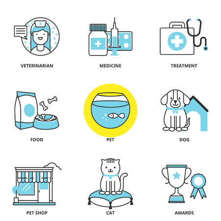 Veterinary medicine and pets vector icons set: veterinarian, medicine, treatment, food, pet, dog, pet shop, cat, awards. Modern line style