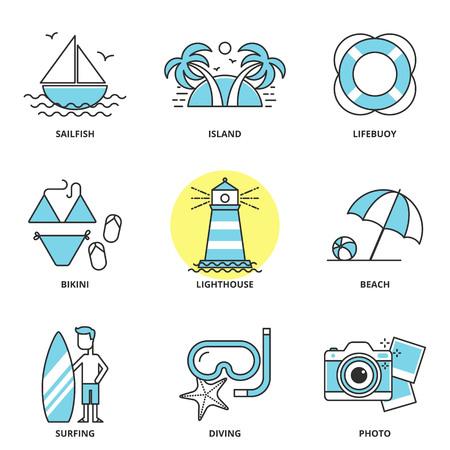 sailfish: Sea and summer vector icons set: sailfish, island, lifebuoy, bikini, lighthouse, beach, surfing, diving, photo. Modern line style Illustration