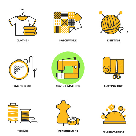 clew: Sewing vector icons set: clothes, patchwork, knitting, embroidery, sewing machine, cutting-out, thread, measurement, haberdashery. Modern line style Illustration