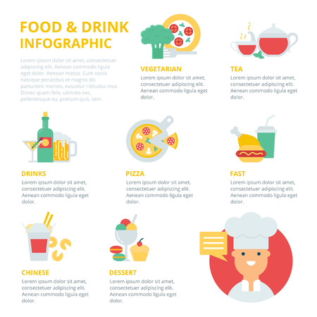 food and drinks: Food and drinks infographic, vector illustration