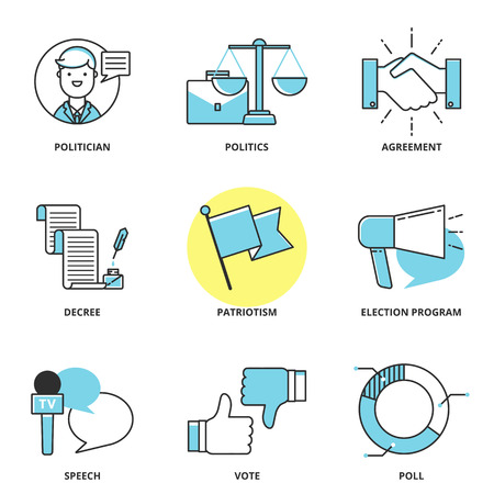 Politics vector icons set: politician, agreement, decree, patriotism, election program, speech, vote, poll. Modern line style Illustration