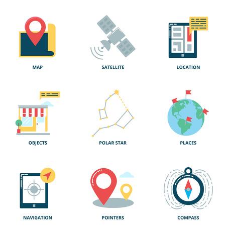 navegacion: Navegación y la ubicación de vectores iconos conjunto, de estilo plana