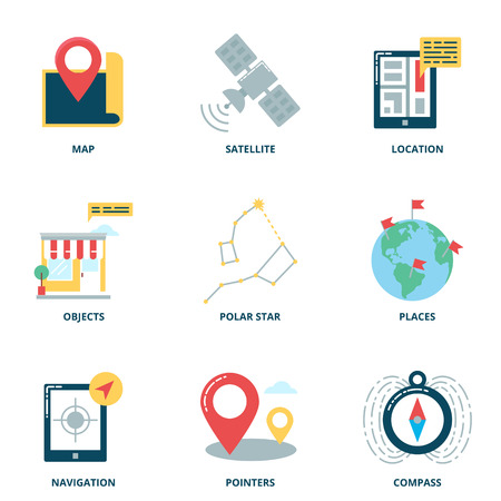 satellite navigation: Navigation and location vector icons set, flat style
