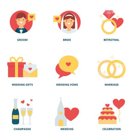 mariage: Icônes vectorielles de mariage fixé, le style plat Illustration