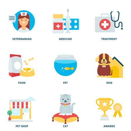 veterinary medicine: Veterinary medicine and pets vector icons set, flat style