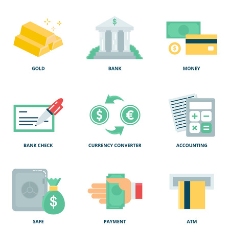 calculator money: Money and finance vector icons set, flat style Illustration