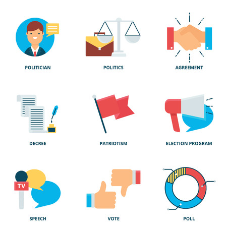 politics: Politics vector icons set, flat style Illustration