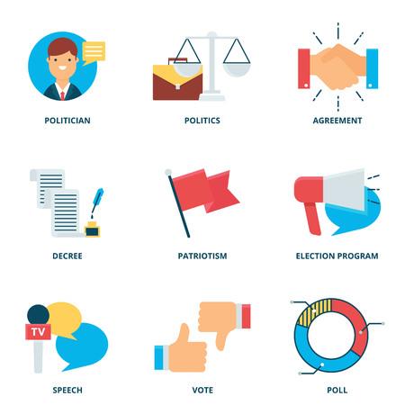 Politics vector icons set, flat style Illustration