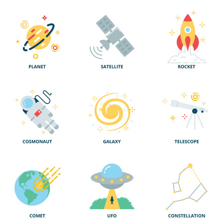 pulsar: Space vector icons set, flat style Illustration