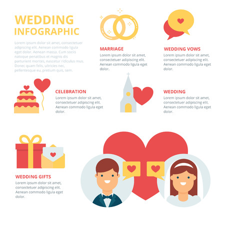 vows: Wedding infographic, vector illustration