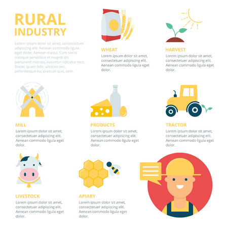 cultivation: Rural industry infographic, vector illustration