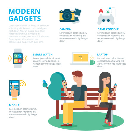 man using computer: Modern gadgets infographic, vector illustration Illustration