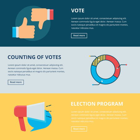 votes: Web banners: vote, counting of votes, election program. Vector illustration, flat style Illustration