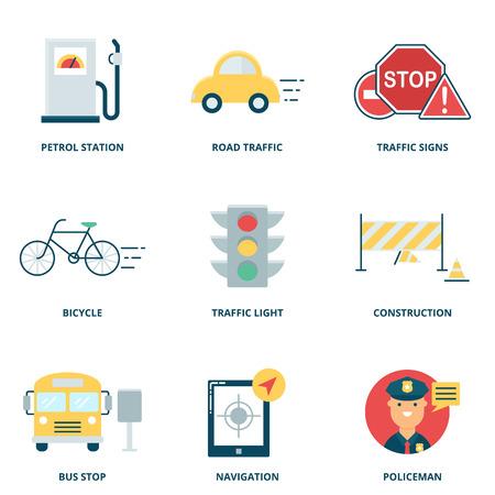 Der Straßenverkehr Vektor-Icons gesetzt, Flat Vektorgrafik