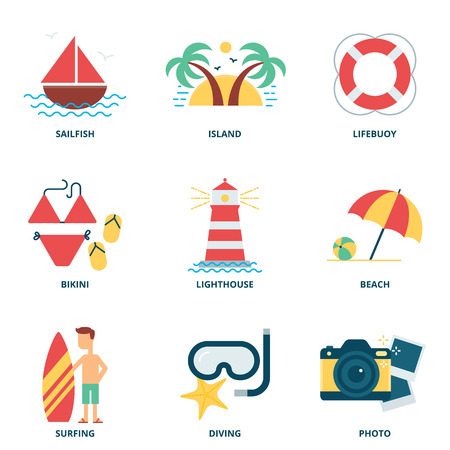 diving board: Sea and summer vector icons set, flat style Illustration