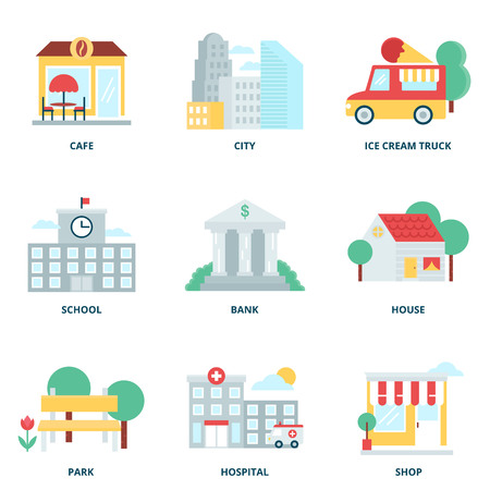 Stad en gebouwen vector pictogrammen instellen, vlakke stijl