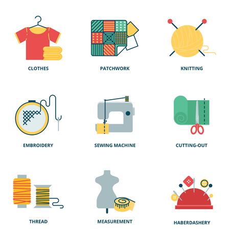 coser: Iconos vectoriales Set de costura, estilo plana Vectores