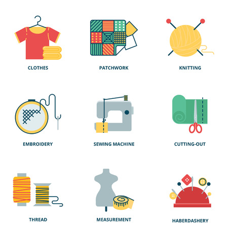 sew: Sewing vector icons set, flat style Illustration