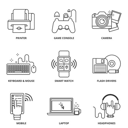 drivers: Modern devices vector icons set Illustration