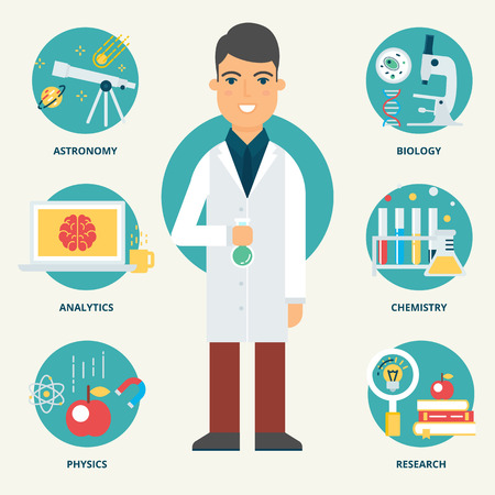 to a scientist: Profession: Scientist. Vector illustration, flat style