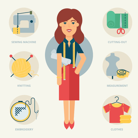 seamstress: Profession: Designer, Seamstress. Vector illustration, flat style