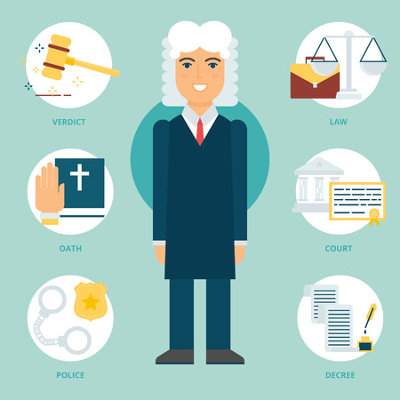 protection of the bible: Profession: Judge. Vector illustration, flat style