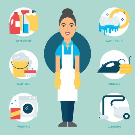 servicio domestico: Profesión: Limpiador. Ilustración del vector, estilo plano