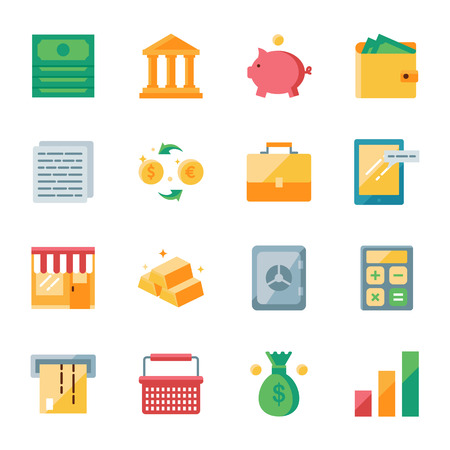 Finance and marketing vector icons set flat style Çizim