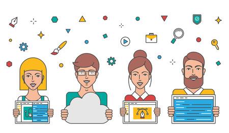 Web Development Team  vector illustration Illustration