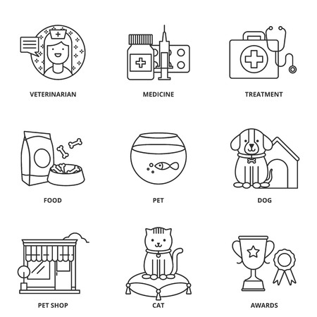 people in line: Veterinary medicine and pets vector icons set Illustration