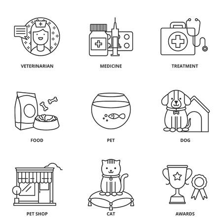 veterinary medicine: Veterinary medicine and pets vector icons set Illustration