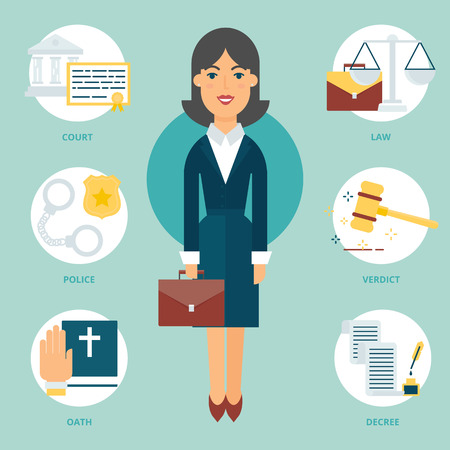 lawyers: Profession: Lawyer. Vector illustration, flat style