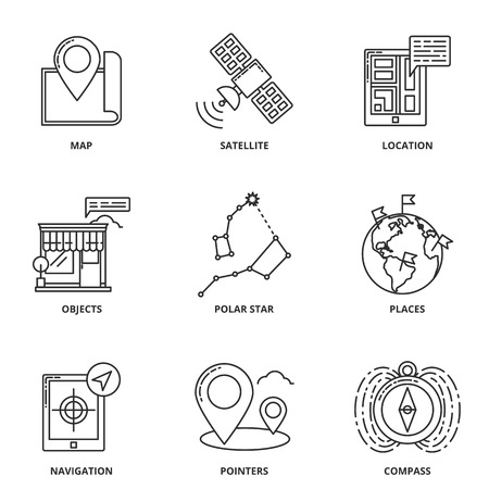 navigation object: Navigation and location vector icons set
