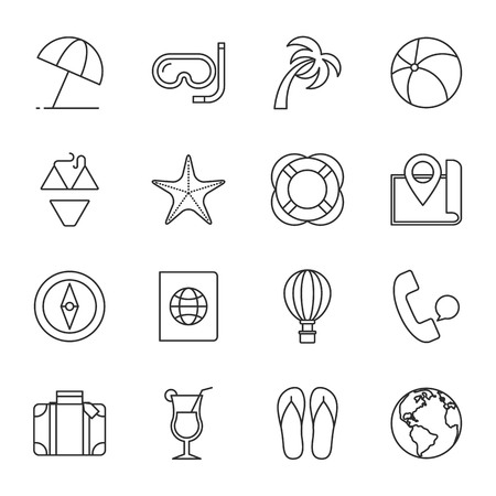 tour operator: Travel vector icons set modern line style