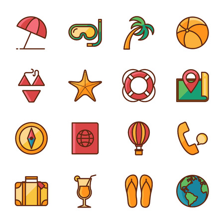 tour operator: Travel vector icons set color line style
